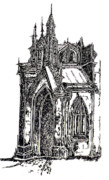 Gothic Drawings Originals - Grace Church New York by Pamela Canzano