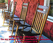 Rocking Chairs Digital Art Posters - Grace is Sufficient Poster by Sheri McLeroy