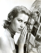 Pearl Necklace Framed Prints - Grace Kelly, 1954 Framed Print by Everett