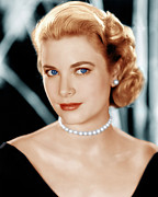 Pearl Necklace Framed Prints - Grace Kelly, Ca. 1953 Framed Print by Everett