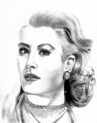 Kelly Drawings Posters - Grace Kelly Poster by Vince Diodato