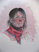 Watercolour Portrait Prints - Grace Print by Ray Agius