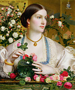 Flower Arranging Framed Prints - Grace Rose Framed Print by Anthony Frederick Augustus Sandys