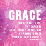 Scripture Digital Art. Scripture Digital Prints Prints - Grace Print by Shandra Aho