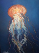 Jelly Fish Paintings - Graceful by Audrey Sullivan