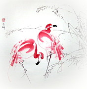 Flamingo Paintings - Graceful Pair by Ming Yeung