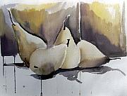 Still Life Drawings Metal Prints - Graceful Pears Metal Print by Mindy Newman