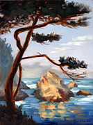 Point Lobos Posters - Graceful Pine Pt. Lobos Poster by Karin  Leonard