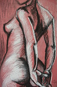 Gestures Framed Prints - Graceful Pink - Nudes Gallery Framed Print by Carmen Tyrrell
