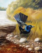 North Fork Painting Framed Prints - Grackle Framed Print by Cara Zietz