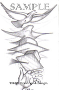 Tattoo Stencils Drawings - Graduation Freedom Dove by Rick Hill