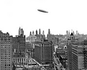 1920 Framed Prints - Graf Zeppelin Over Chicago Framed Print by Underwood Archives
