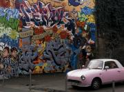 Action Art Posters - Graffiti and the Pink Car. Poster by Mike Lester