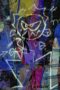 Tag Digital Art - graffiti art cities photograph - Urban Blues by Sharon Hudson