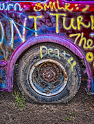 Bolts Digital Art Posters - Graffiti Bus Wheel Poster by Susan Candelario