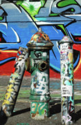 Urban Art Art - Graffiti Fire on Blue by adSpice Studios
