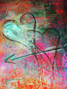 Vivid Mixed Media Framed Prints - Graffiti Hearts Framed Print by Anahi DeCanio