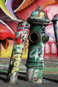 Grafito Framed Prints - Graffiti Hydrant on Red Framed Print by AdSpice Studios