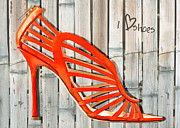 Stilettos Paintings - Graffiti Orange Cage Stilettos by Elaine Plesser