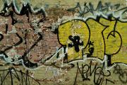 Brick Walls Posters - Graffiti Painted On A Brick Wall Poster by Todd Gipstein