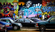 Graffiti Wall Art Posters - Graffiti Parking Lot Poster by Fraida Gutovich