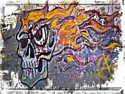 Bad Drawing Photo Posters - Graffiti Skull Poster by Susan Leggett