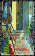 Nyc Mixed Media Framed Prints - Graffiti Steps Wall Art Framed Print by adSpice Studios