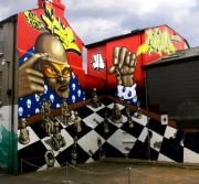 Board Fence Prints - Graffiti. The Chess Player. Print by Mike Lester