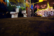 Nyc Graffiti Posters - Graffiti toilets  Poster by Mike Lindwasser Photography