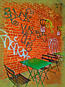Patio Table And Chairs Posters - Grafitti Dining Poster by Joan  Minchak