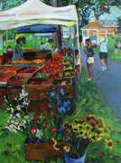 Marketplace Painting Framed Prints - Grafton Farmers Market Framed Print by Allison Coelho Picone