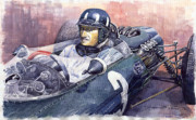 Retro Portret Paintings - Graham Hill BRM P261 1965 by Yuriy  Shevchuk