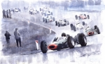 Hill Painting Framed Prints - Graham Hill BRM P261 Belgian GP 1965 Framed Print by Yuriy  Shevchuk