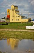 Balzac Photos - Grain Elevator in Balzac Alberta by Louise Heusinkveld