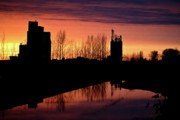White River Scene Digital Art Framed Prints - Grain Elevator Reflection Sunset Framed Print by Mark Duffy
