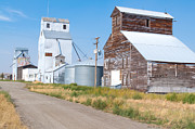 Small Towns Metal Prints - Grain Elevators Metal Print by Fran Riley