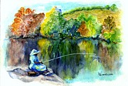 Pole Drawings Framed Prints - Grammas Uh Gone Fishin Framed Print by Carol Wisniewski