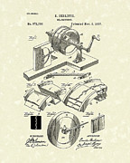 Record Player Drawings Posters - Gramophone 1887 Patent Art Poster by Prior Art Design