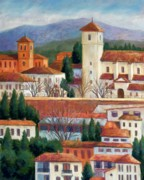 Church Pastels Posters - Granada View Poster by Candy Mayer