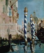 Moorings Framed Prints - Grand Canal Framed Print by Edouard Manet