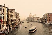 Famous Bridge Framed Prints - Grand Canal from Rialto Framed Print by Linda  Parker