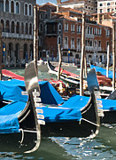 Vaporetto Framed Prints - Grand Canal Gondolas Painting Framed Print by Jim Chamberlain