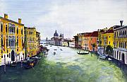 Historical Buildings Painting Posters - Grand Canal Poster by Peter Worsley