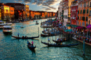 Venice Photos - Grand Canal Sunset by Harry Spitz