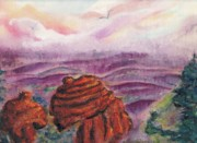 Rock Shapes Paintings - Grand Canyon Bell Rock by Suzanne  Marie Leclair
