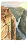 Watercolor Southwest Landscape Paintings - Grand Canyon by Mike Lawrence