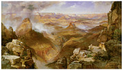 Fine American Art Posters - Grand Canyon of the Colorado Poster by Thomas Moran