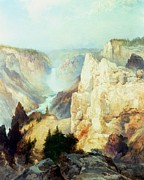 Mountainous Painting Posters - Grand Canyon of the Yellowstone Park Poster by Thomas Moran