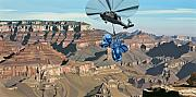 Helicopter Tapestries Textiles Framed Prints - Grand Canyon Framed Print by Scott Listfield