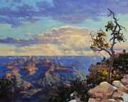 Rim Paintings - Grand Canyon sunrise by Gary Kim